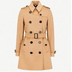 Burberry camel tan wool cashmere trench coat